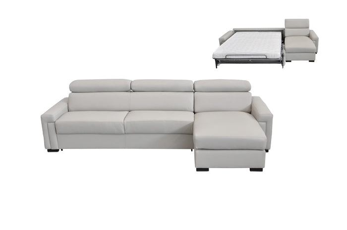 Estro Salotti Sacha Modern Light Grey Leather Reversible Sectional Sofa Pull Out Bed w/ Storage