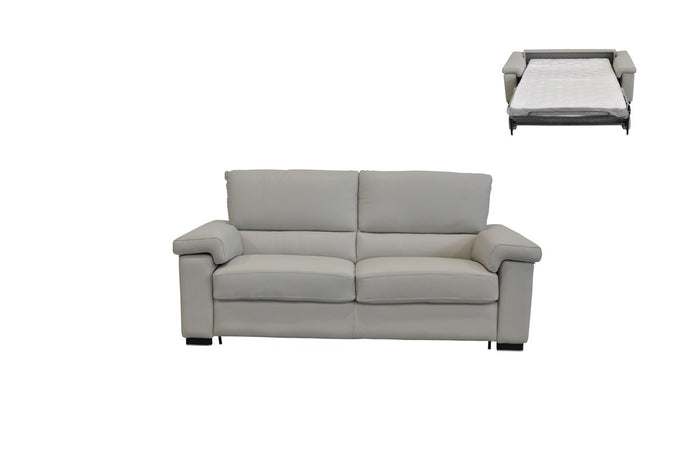 Estro Salotti Spock Italian Modern Light Grey Leather Sofa Bed