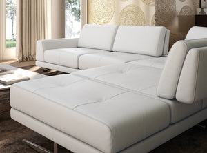 Accenti Italia Bellagio Italian Modern White Leather Sectional Sofa