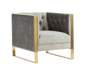 Divani Casa Carlos Modern Grey Velvet & Gold Accent Chair