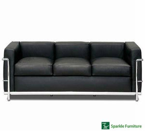 Le corbusier Genuine Black Leather 3 Seater Sofa (FLOOR MODEL - MUST PURCHASE FROM SHOWROOM)
