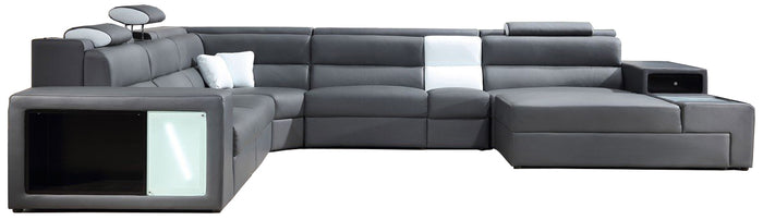 Divani Casa Polaris - Gray Contemporary Bonded Leather Sectional Sofa