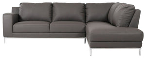 Divani Casa Primrose Grey Leather Sectional Sofa with Chaise