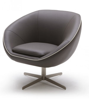 Divani Casa Willow - Modern Leather Swivel Lounge Chair