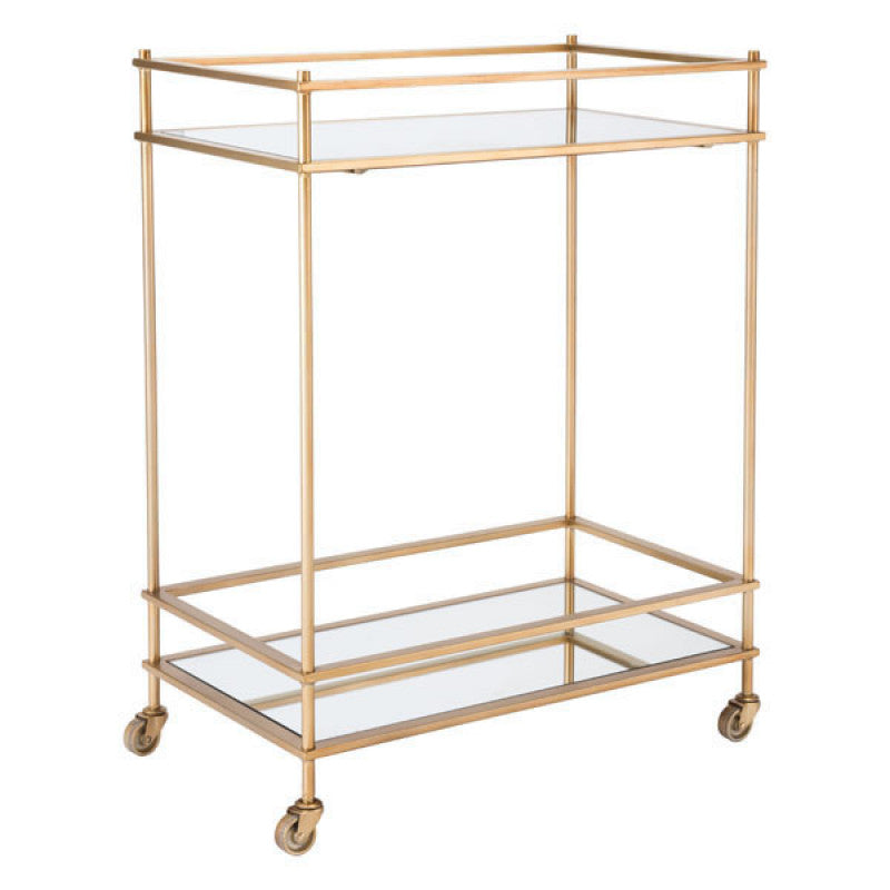 Zuo Modern Mirrored Gold Bar Cart Gold