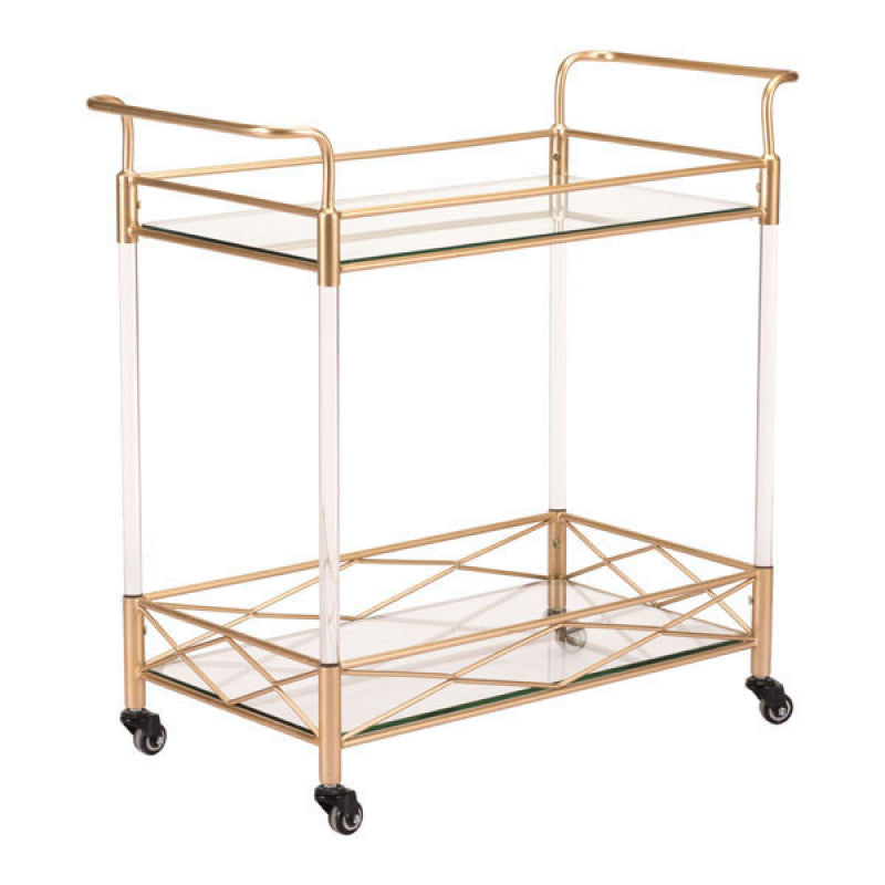 Zuo Modern Lucite Bar Cart Gold
