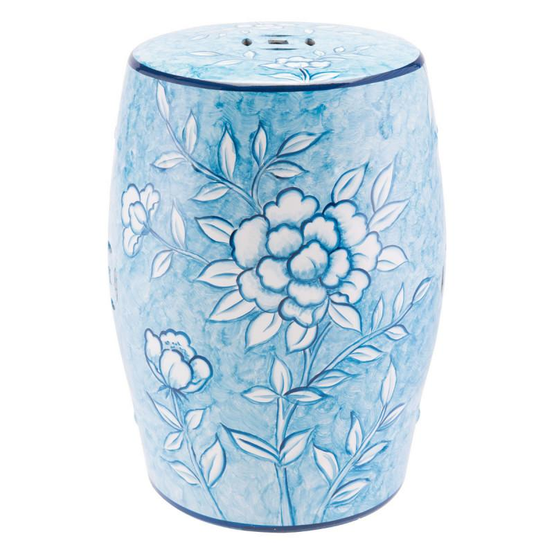 Zuo Modern Flower Garden Seat Stool Blue And White