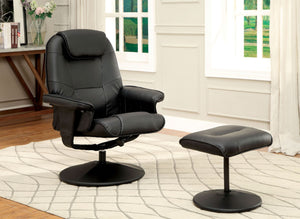 Furniture Of America Stanton Black Swivel Recliner Chair With Ottoman