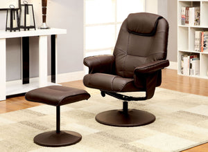 Furniture Of America Stanton Brown Swivel Recliner Chair With Ottoman
