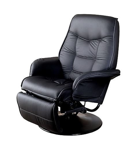 Coaster Furniture Black Berri Swivel Recliner Chair with Flared Arms