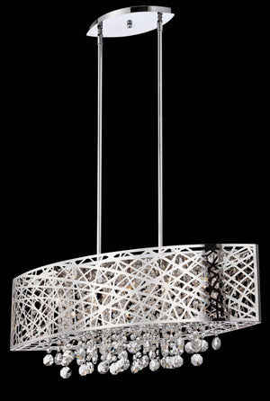 Lite Source EL-10103 Chrome Benedetta 5 Light Linear Pendant * (CURRENTLY ON FURNITURE SHOWROOM FLOOR)