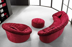 Divani Casa Cosmopolitan Mini - Red Velvet Fabric Sectional Sofa with Ottoman