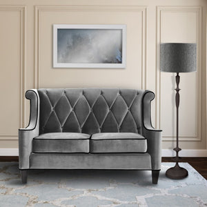 Armen Living Barrister Loveseat Sofa In Gray Velvet with Black Piping