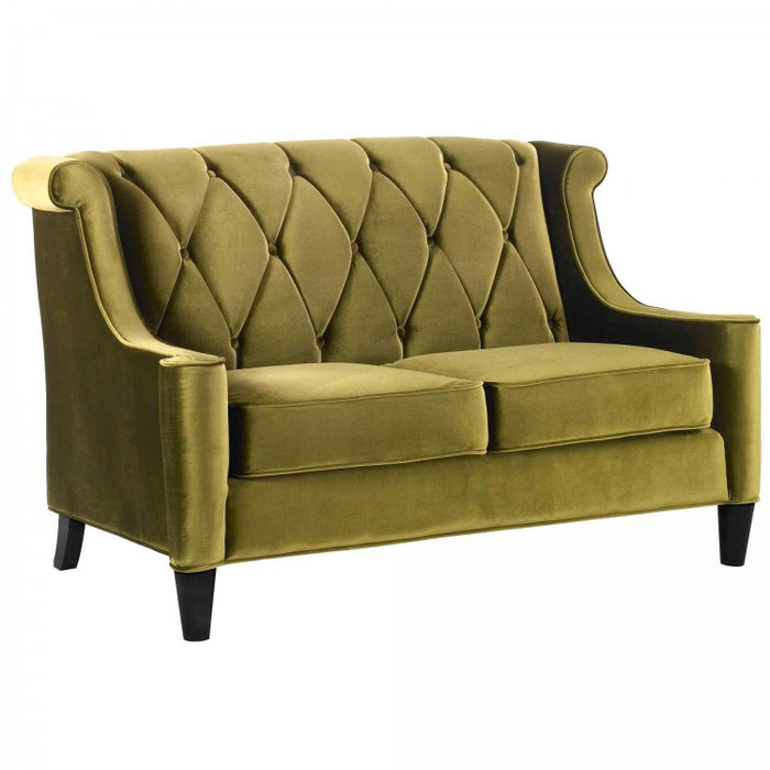 Armen Living Barrister Loveseat Sofa In Green Velvet