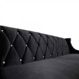 Armen Living Barrister Sofa In Black Velvet With Crystal Buttons