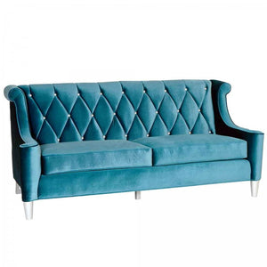 Armen Living Barrister Sofa In Blue Velvet With Crystal Buttons