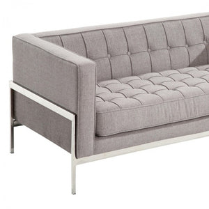 Armen Living Andre Contemporary Loveseat Sofa In Gray Tweed and Stainless Steel