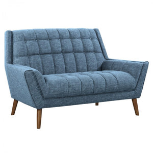 Armen Living Cobra Mid-Century Modern Loveseat Sofa in Blue Linen and Walnut Legs