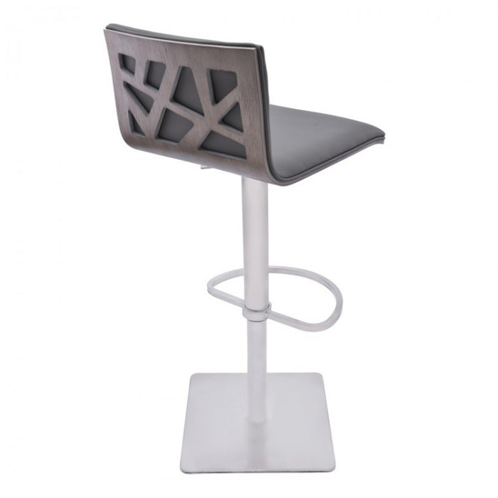 Armen Living Crystal Adjustable Swivel Barstool in Gray Pu with Brushed Stainless Steel Finish and Gray Walnut Veneer Back * (CURRENTLY ON FURNITURE SHOWROOM FLOOR)