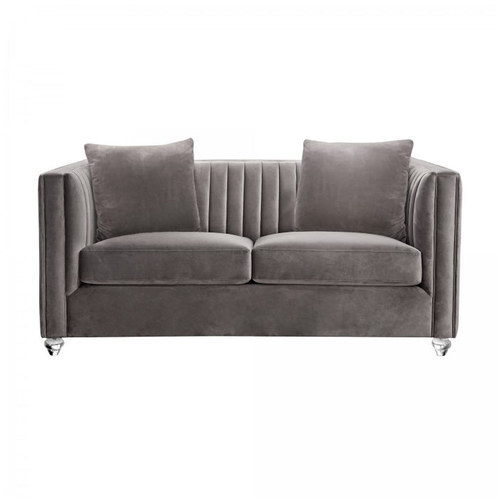 Armen Living Emperor Contemporary Loveseat Sofa with Acrylic Finish, Beige Fabric and Pillows