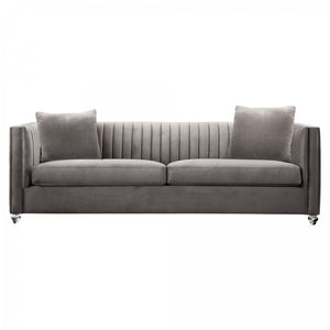 Armen Living Emperor Contemporary Sofa with Acrylic Finish, Beige Fabric and Pillows