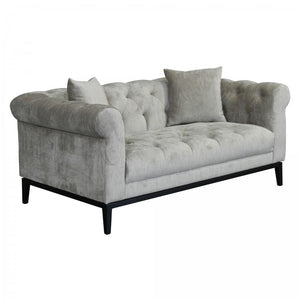Armen Living Glamour Contemporary Loveseat Sofa with Black Iron Finish Base and Beige Fabric