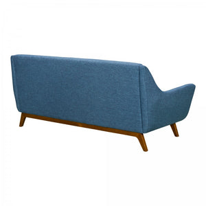 Armen Living Janson Mid-Century Sofa in Champagne Finish and Blue Fabric with Rubber Wood