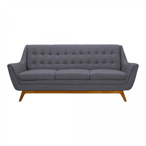 Armen Living Janson Mid-Century Sofa in Champagne Finish and Dark Grey Fabric with Rubber Wood