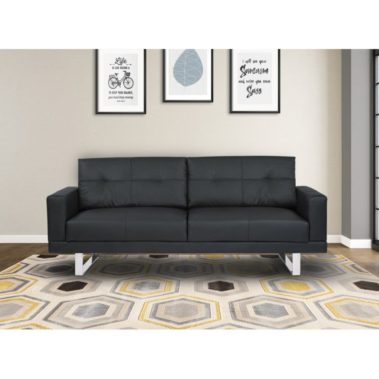 Superb Armen Living Lincoln Mid Century Sofa In Black Tufted Faux Ncnpc Chair Design For Home Ncnpcorg