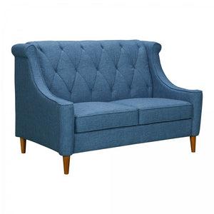 Armen Living Luxe Mid-Century Loveseat Sofa in Champagne Finish and Blue Fabric with Rubber Wood