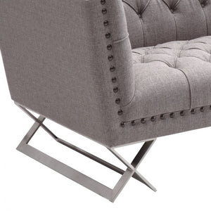 Armen Living Odyssey Sofa in Brushed Steel finish with Gray Tweed upholstery and Black Nail heads