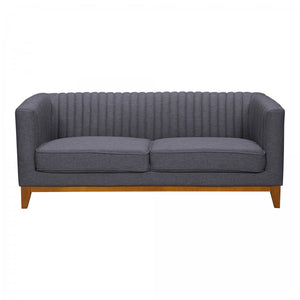 Armen Living Prism Mid-Century Loveseat Sofa in Champagne Finish and Dark Grey Fabric with Rubber Wood