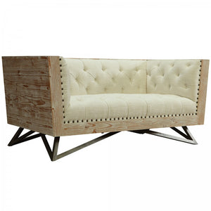 Armen Living Regis Cream Loveseat Sofa With Pine Frame And Gunmetal Legs