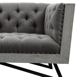 Armen Living Regis Contemporary Loveseat Sofa in Grey Fabric with Black Metal Finish Legs and Antique Brown Nailhead Accents
