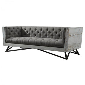 Armen Living Regis Contemporary Sofa in Grey Fabric with Black Metal Finish Legs and Antique Brown Nailhead Accents