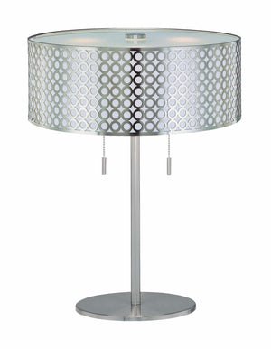 Lite Source LS-21519PS 2 Light Table Lamp With Net Metal Shade With White Polished Steel Back * (CURRENTLY ON FURNITURE SHOWROOM FLOOR)