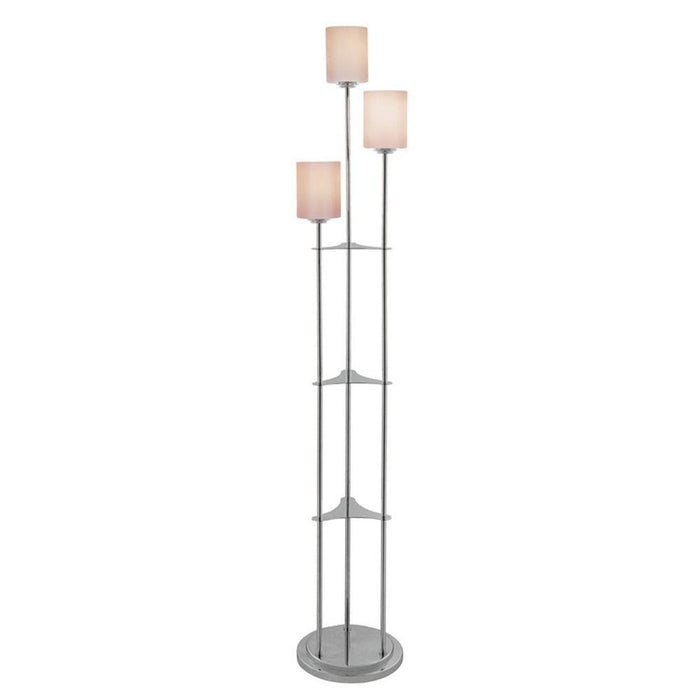Lite Source LSF-80700BN 3-lite Floor Lamp, Brushed Nickel/frost Glass, E27 Cfl 13wx3 * (CURRENTLY ON FURNITURE SHOWROOM FLOOR)