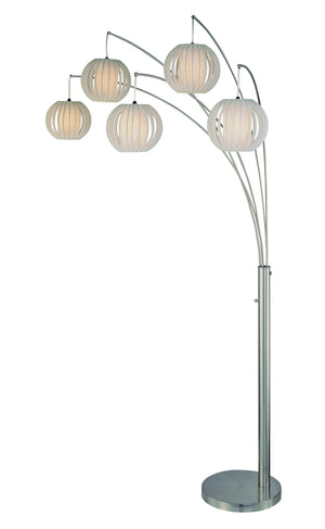 Lite Source LSF-8872PS/WHT 8872Ps Wht 5 Light Arch Floor Lamp Polished Steel With White Shade * (CURRENTLY ON FURNITURE SHOWROOM FLOOR)