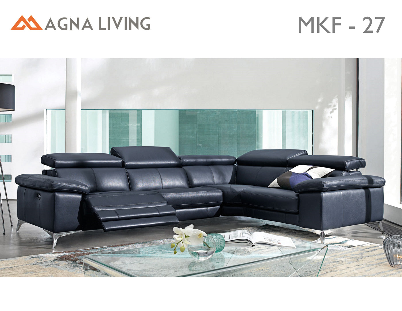 Avalon MKF27 Leather Power Reclining Sectional ...