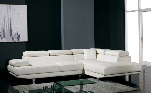 ... Divani Casa T60   White Leather Sectional Sofa With Chaise ...