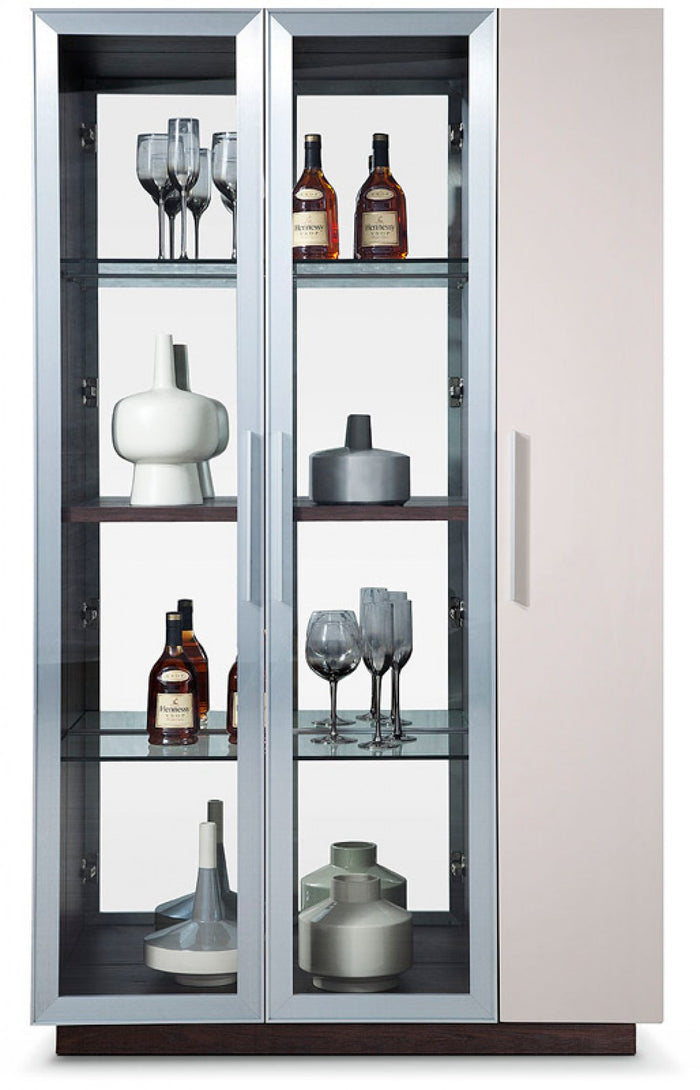 Modrest Union Modern Brown Oak w/ Grey Gloss Wine Cabinet