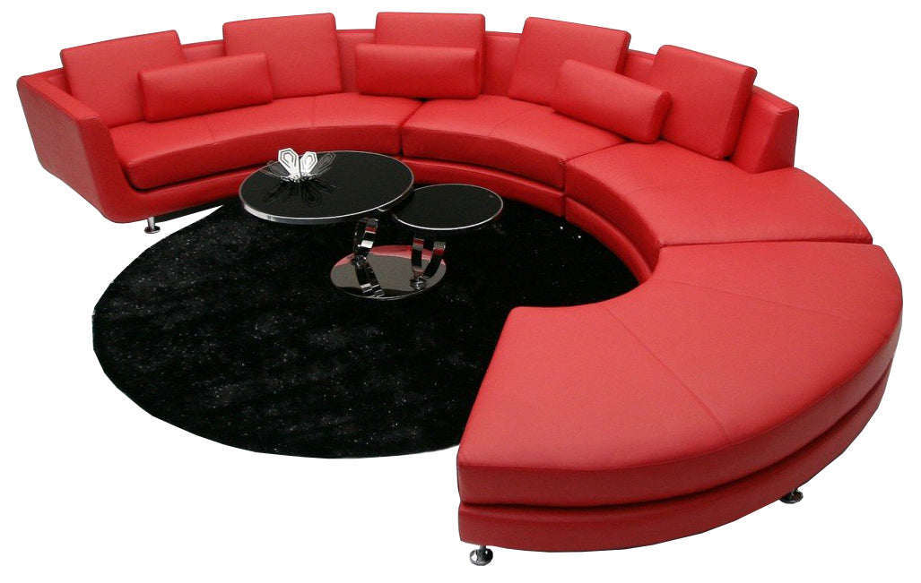 Divani Casa A94 - Contemporary Red Leather Sectional Sofa with Ottoman