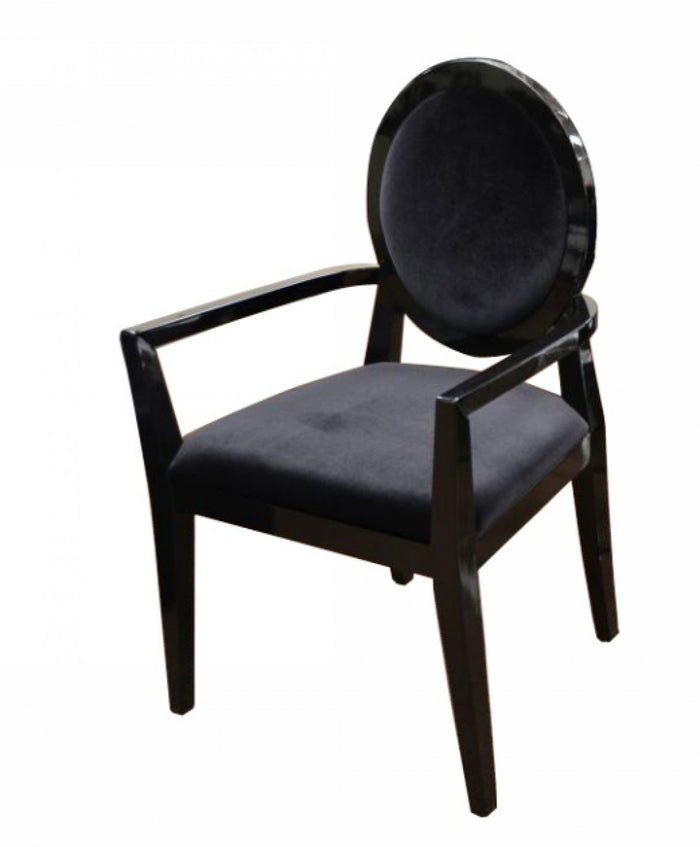 A&X Lyle - Transitional Black Fabric High Gloss Dining Chair