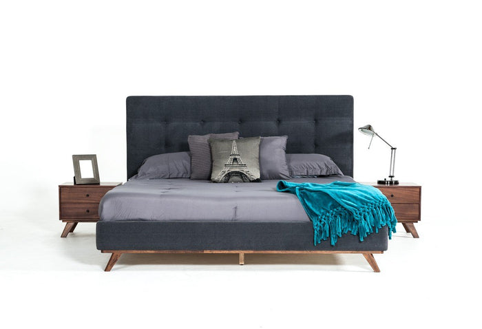 Modrest Addison Mid-Century Walnut Grey Fabric Upholstered Bed