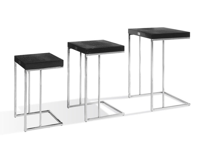 A&X Amelia - Modern Black Crocodile Lacquer Nesting Table Set