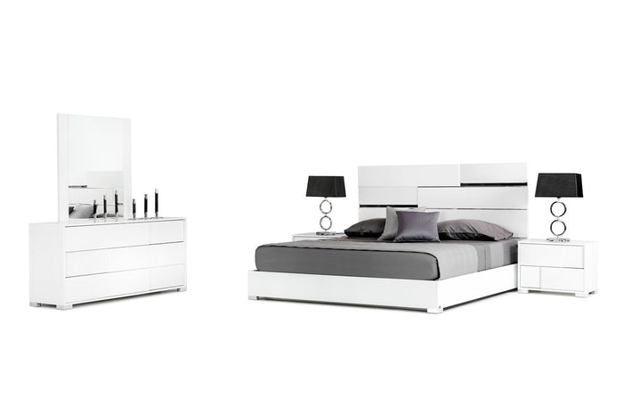 Modrest Ancona Italian White Lacquer Bedroom Furniture Set