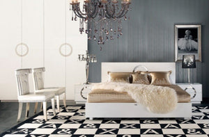 A&X Ovidius - Modern White Crocodile White Lacquer Bed