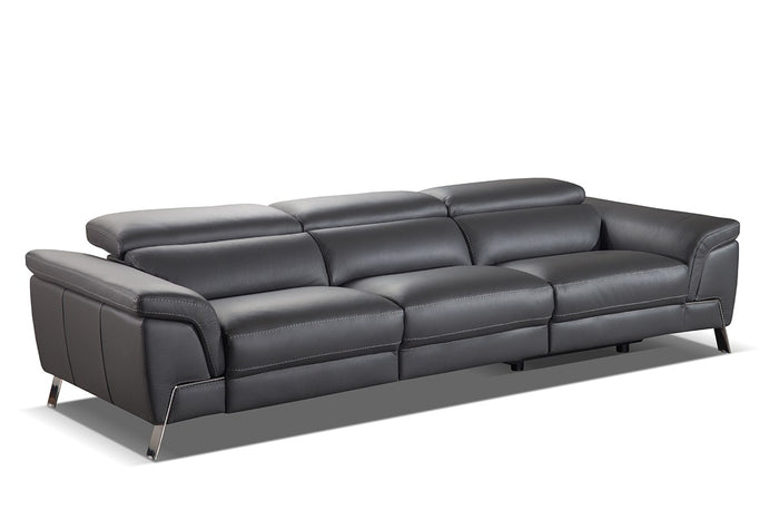 Accenti Italia Azur Italian Modern Grey Leather Sofa w/ 2 Recliners