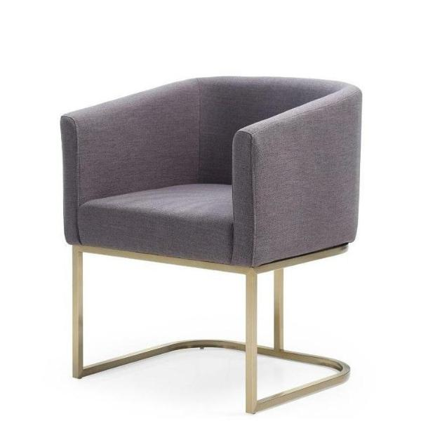 Modrest Yukon Modern Antique Brass & Grey Velvet Dining Chair