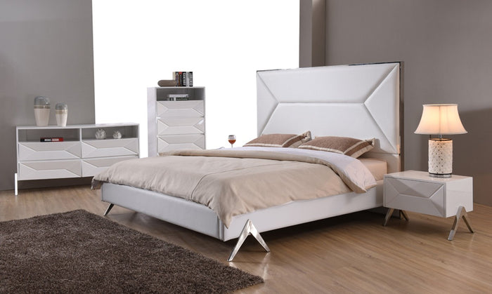 Modrest Candid High Gloss White Lacquer Bedroom Furniture Set